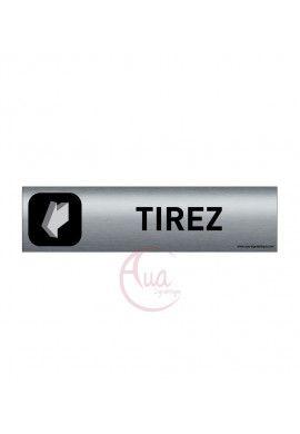 Plaque de porte Aluminium brossé imprimé AluSign DARK - 200x50 mm - Tirez la porte - Double Face adhésif au dos