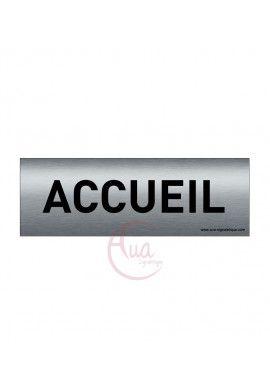 Plaque de porte Aluminium brossé imprimé AluSign Texte - 150x50 mm - Accueil - Double Face adhésif au dos