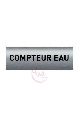 Plaque de porte Aluminium brossé imprimé AluSign Texte - 150x50 mm - Compteur eau - Double Face adhésif au dos