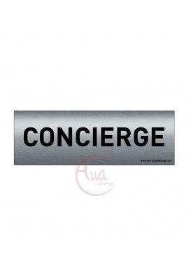 Plaque de porte Aluminium brossé imprimé AluSign Texte - 150x50 mm - Concierge - Double Face adhésif au dos