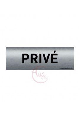 Plaque de porte Aluminium brossé imprimé AluSign Texte - 150x50 mm - Privé - Double Face adhésif au dos
