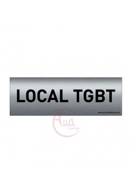 Plaque de porte Aluminium brossé imprimé AluSign Texte - 150x50 mm - Local TGBT - Double Face adhésif au dos
