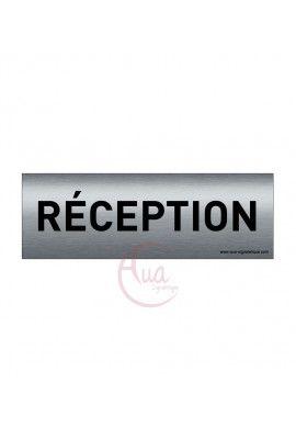 Plaque de porte Aluminium brossé imprimé AluSign Texte - 150x50 mm - Réception - Double Face adhésif au dos