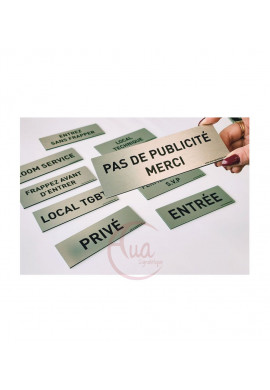 Plaque de porte Aluminium brossé imprimé AluSign Texte - 150x50 mm - Salle de repos - Double Face adhésif au dos