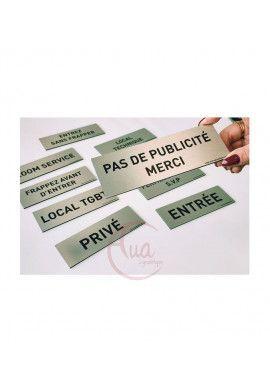 Plaque de porte Aluminium brossé imprimé AluSign Texte - 150x50 mm - Visiteurs - Double Face adhésif au dos