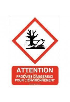 Panneau Attention Produits Dangereux Pour L'environnement - AI