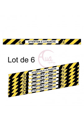 Lot de 6 Bandes de Marquage au sol - Attention à la marche - autocollant laminé