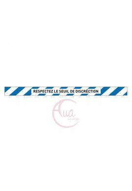 Lot de 6 Bandes de Marquage au sol - Respectez le seuil de discrétion - bleu - autocollant laminé