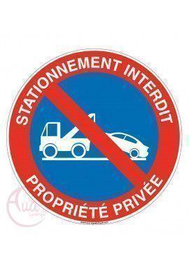 Panneau stationnement interdit propriété privée sous peine de fourrière 2