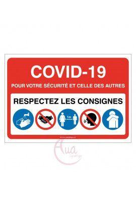 Signalisation Coronavirus respectez consignes COVID-19 - Modèle avec 5 pictogrammes -ROUGE