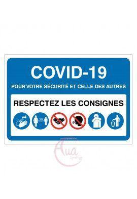 Signalisation Coronavirus respectez consignes COVID-19 - Modèle avec 6 pictogrammes -BLEU