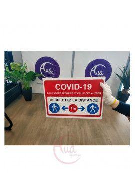 Panneau de Signalisation Coronavirus gardez une distance de 1 à 2 mètres COVID-19 - BLEU