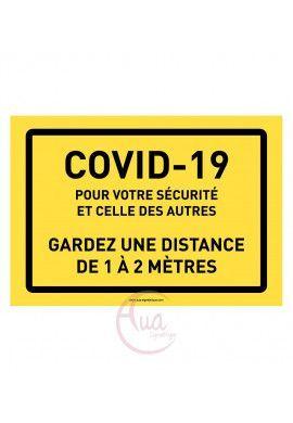 Panneau de Signalisation Coronavirus gardez une distance de 1 à 2 mètres COVID-19 - jaune