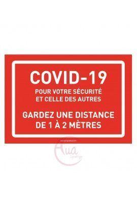 Panneau de Signalisation Coronavirus gardez une distance de 1 à 2 mètres COVID-19 - rouge