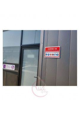 Panneau de Signalisation COVID-19 respectez la distance 1 m avec pictogramme ISO 7010 - BLEU