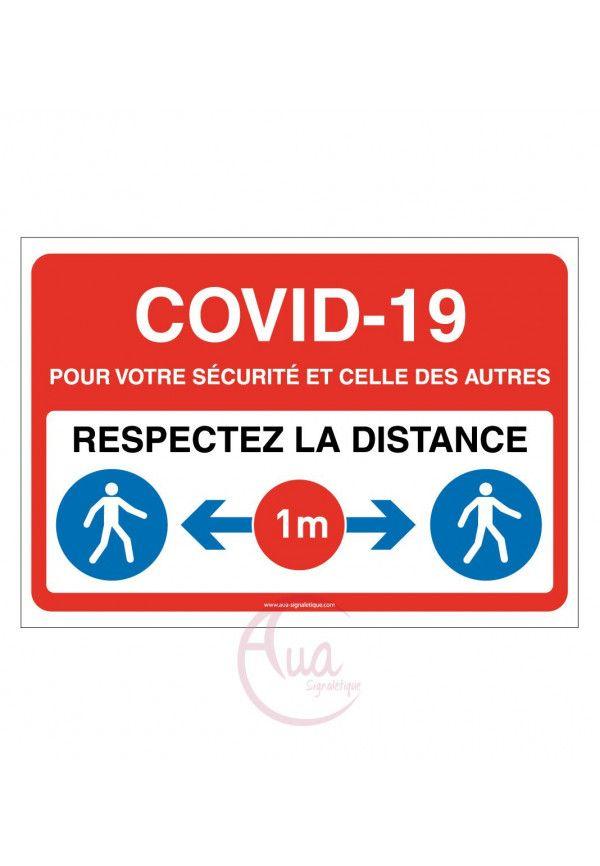 Panneau de Signalisation COVID-19 respectez la distance 1 m avec pictogramme ISO 7010 - ROUGE