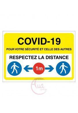 Panneau de Signalisation COVID-19 respectez la distance 1 m avec pictogramme ISO 7010 - JAUNE