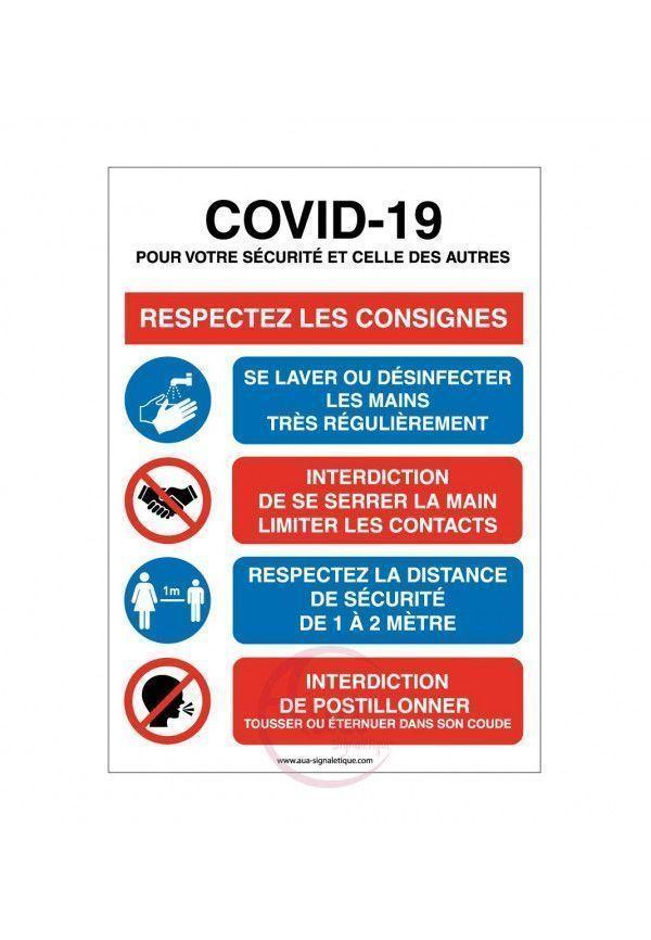 Panneau de signalisation règles Coronavirus Covid-19 respectez les consignes avec pictogrammes - Rouge