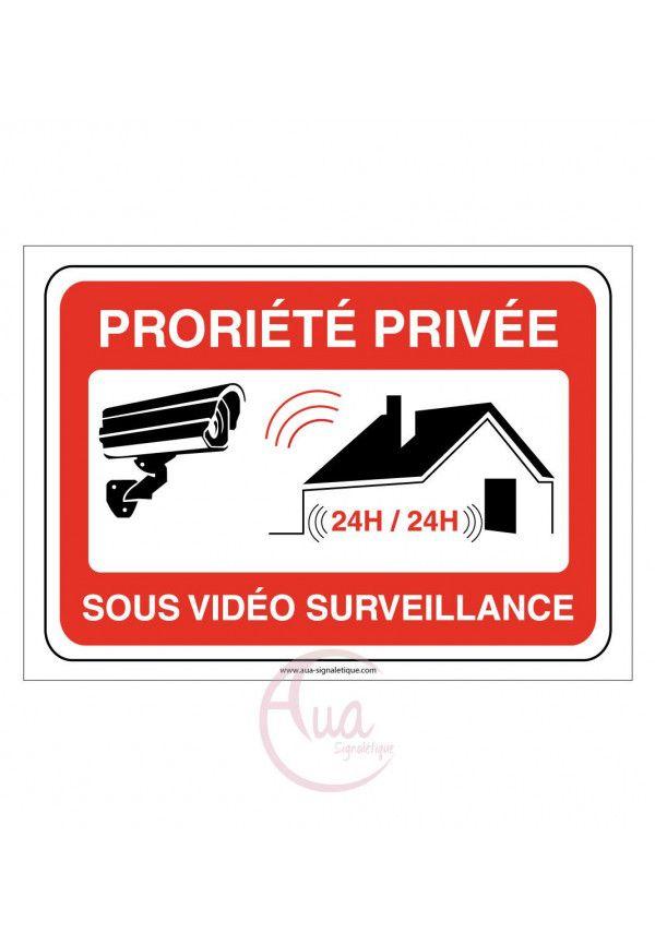 Panneau signalisation propriété privée sous vidéo surveillance - modèle paysage