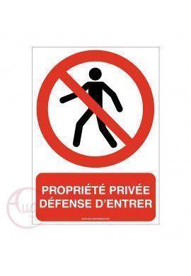 Signalisation propriété privée défense d'entrer panneau ISO 7010