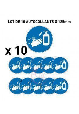 Lot 10 autocollants lavage ou désinfection des mains au gel hydroalcoolique obligatoire Ø 125 mm