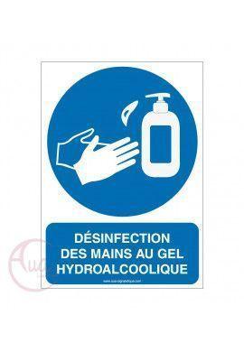 Panneau de signalisation désinfection des mains obligatoire -3