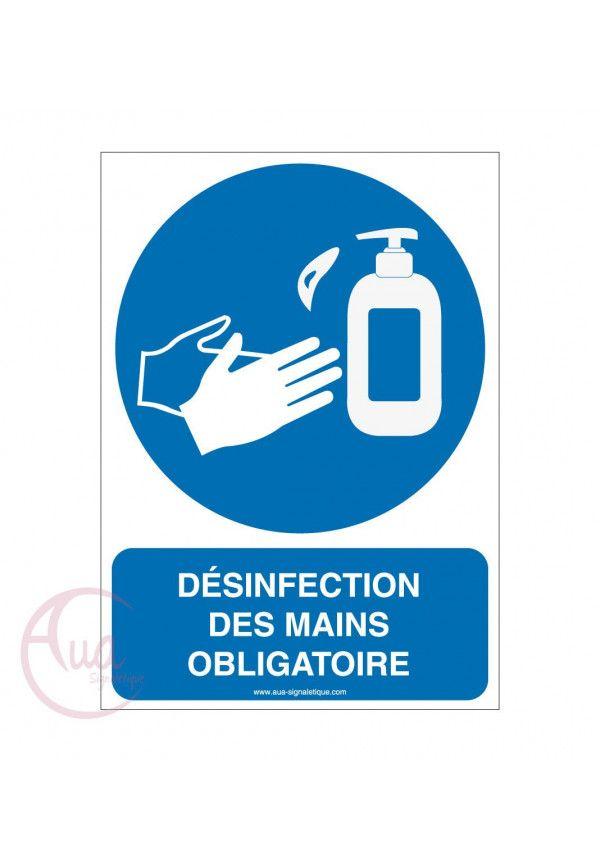 Panneau de signalisation désinfection des mains au gel hydroalcoolique obligatoire -2