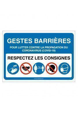 Panneau signalisation : Gestes Barrières et consignes à respecter pour l'accès à L' établissement -BLEU