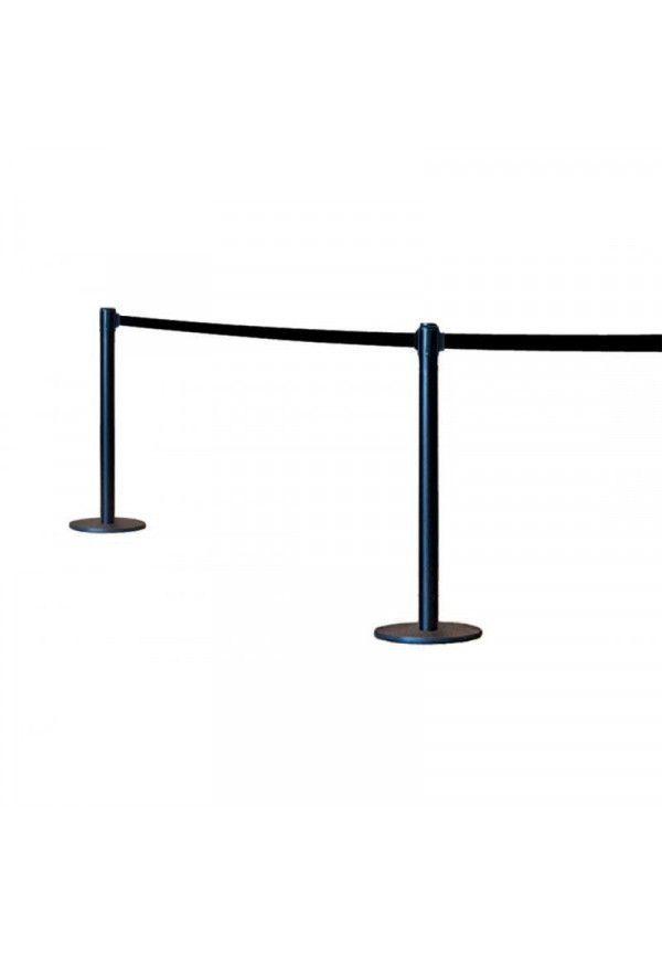 Poteau noir à sangle noir - 2 mètres