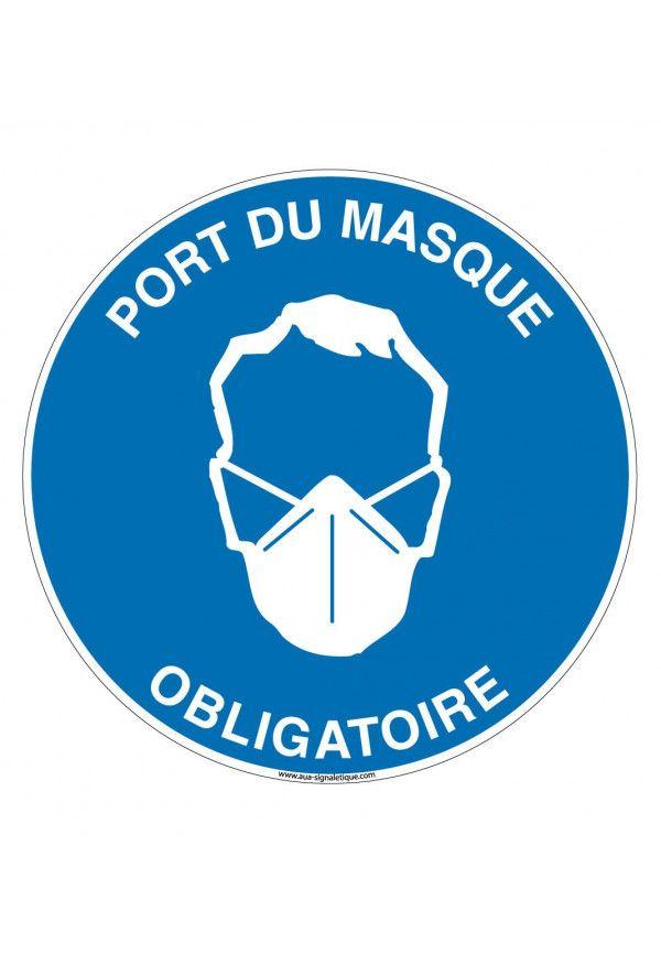 Panneau Port du masque obligatoire circulaire