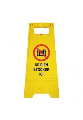 Chevalet de signalisation ne rien stocker ici  - Poids 1Kg en plastique jaune