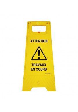 Chevalet de signalisation attention travaux en cours - Poids 1KG en plastique jaune