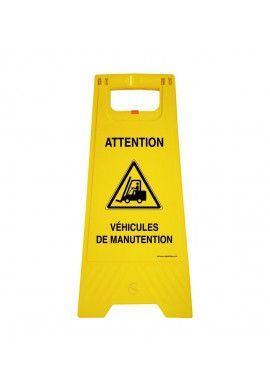 Chevalet de signalisation attention passage véhicules de manutention - Poids 1KG en plastique jaune