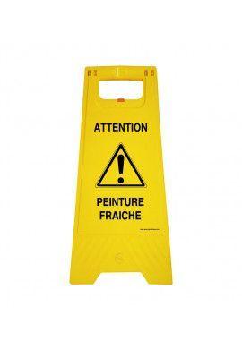 Chevalet de signalisation attention peinture fraiche - Poids 1KG en plastique jaune