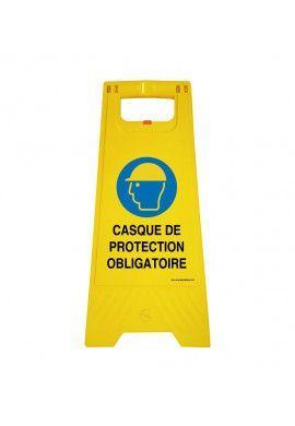 Chevalet de signalisation casque de protection obligatoire - Poids 1Kg en plastique jaune