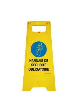 Chevalet de signalisation harnais de sécurité obligatoire - Poids 1Kg en plastique jaune