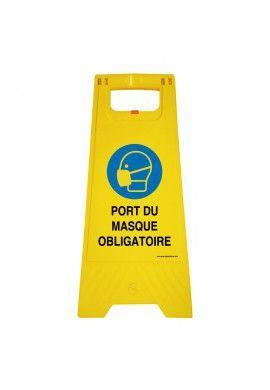 Chevalet de signalisation port du masque obligatoire - Poids 1Kg en plastique jaune