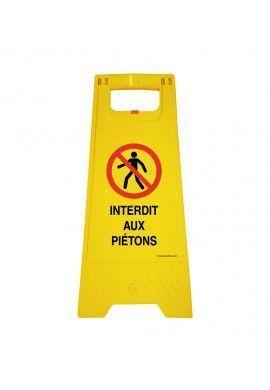 Chevalet de signalisation interdit aux piétons - Poids 1Kg en plastique jaune