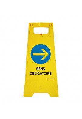 Chevalet de signalisation sens obligatoire - Poids 1Kg en plastique jaune