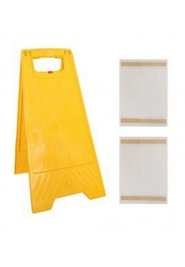Kit chevalet de signalisation double face vierge en plastique jaune