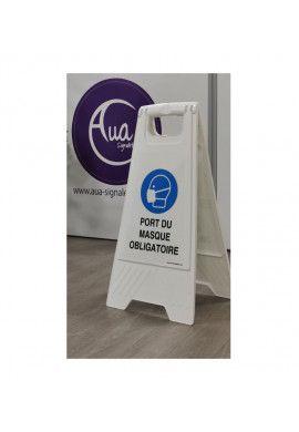 Chevalet de signalisation port du masque obligatoire - Poids 1Kg en plastique blanc