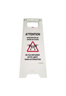 Chevalet signalisation intervention Drone - Poids 1KG en plastique blanc