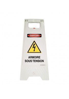 Chevalet de signalisation danger armoire sous tension - Poids 1KG en plastique blanc