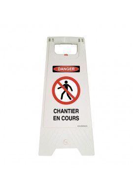 Chevalet de signalisation attention CHANTIER EN COURS danger - Poids 1KG en plastique blanc