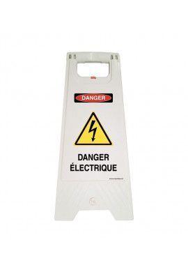 Chevalet de signalisation danger électrique - Poids 1KG en plastique blanc