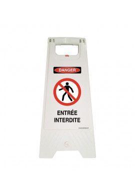 Chevalet de signalisation sous tension électrique danger - Poids 1KG en plastique blanc