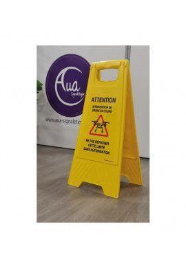 Chevalet de signalisation attention nettoyage en cours - Poids 1KG en plastique jaune