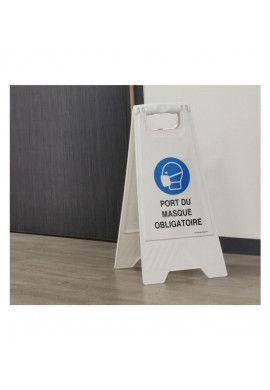 Chevalet de signalisation attention nettoyage en cours - Poids 1KG en plastique blanc