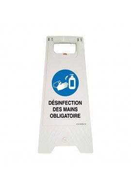 Chevalet de signalisation désinfection des mains obligatoire - Poids 1KG en plastique blanc