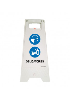 Chevalet de signalisation port du masque et désinfection des mains obligatoires - Poids 1KG en plastique blanc
